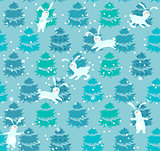 Seamless blue pattern with trees and rabbits