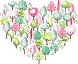 Heart made of blossoming spring trees.
