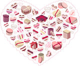 Stylized pink heart made of gift boxes