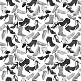 Black-and-white contour seamless pattern with shoes