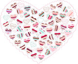 Stylized pink heart made of hearts  isolated
