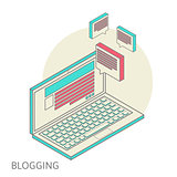 Isometric design modern concept of blogging