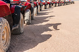Closeup of ATV tyres in a row