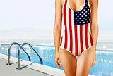 woman in swimwear as the American flag