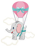Baby elephant with hot air balloon