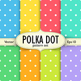 Set of multicolour polka dot seamless patterns