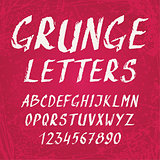 Handwritten grunge alphabet with letters and numbers