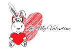 Female  Rabbit with Red Heart
