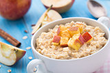 Tasty oatmeal with apples and cinnamon