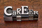 career word in metal type