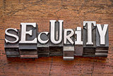 security word in metal type