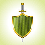 Green striped shield with sword