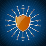 Orange striped shield with ring of swords