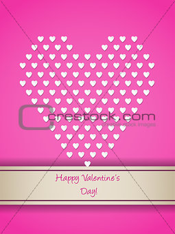 Valentine greeting with small white hearts