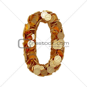 Alphabet number digit zero 0 with golden coins isolated on white