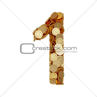 Alphabet number digit one 1 with golden coins isolated on white