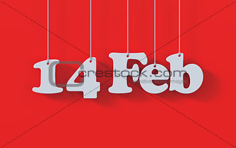 14 February Valentine Day white paper origami card on red backgr