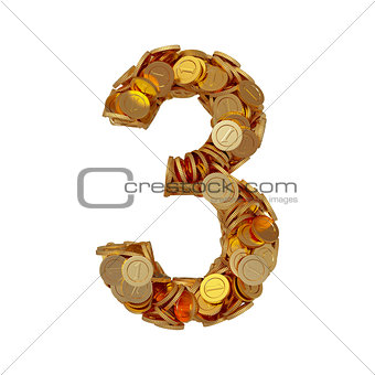 Alphabet number digit three 3 with golden coins isolated on whit