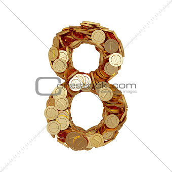 Alphabet number digit eight 8 with golden coins isolated on whit
