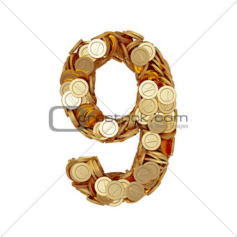 Alphabet number digit nine 9 with golden coins isolated on white