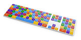 View of computer keyboard button with color domain name buttons