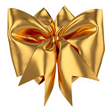 Golden decoration celebration present gift bow isolated on white