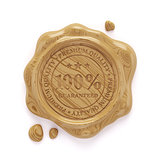 Wood wax seal 100 percent premium quality stamp isolated on whit