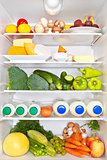 Full fridge. Healthy fitness concept.