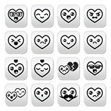 Kawaii hearts, Valentine's Day cute vector buttons set