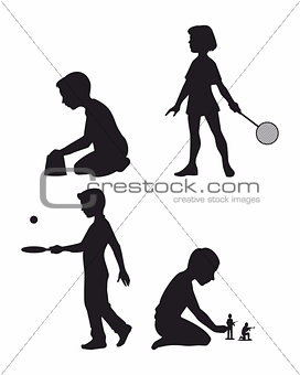 Four children set silhouettes