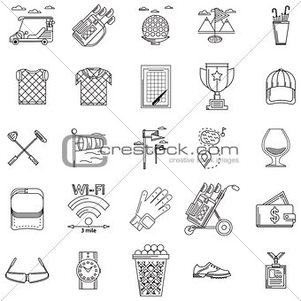 Black contour vector icons for golf