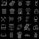 White outline vector icons for golf