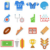 Colored icons vector collection for American football