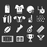 White icons monochrome vector collection for American football