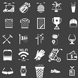 Vector collection of white icons for golf