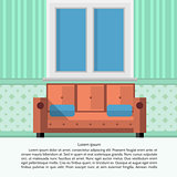 Flat vector illustration of living room interior