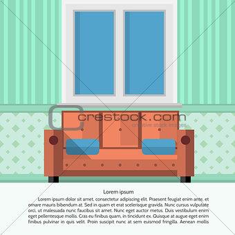 Flat vector illustration of living room interior