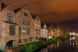 Cityscape with the picturesque night canal in Bruges
