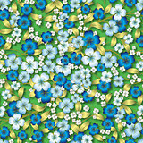 abstract blue floral ornament on green