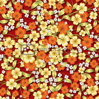 abstract floral ornament on red