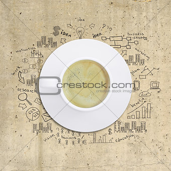 Business strategy infographics option drawn around coffee cup