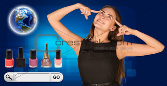 Beautiful woman facing choice. bottles of nail polish, Globe and search bar with Go button beside