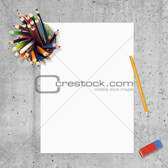 Blank paper, pencils and erasure