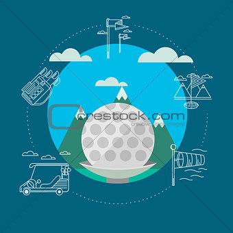 Flat vector illustration of golf