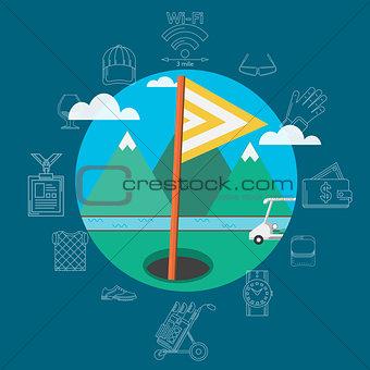 Flat vector illustration of golf equipment