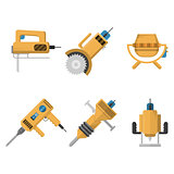 Colored icons vector collection of construction equipment