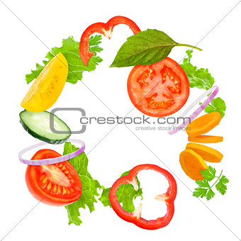 assorted fresh vegetables flying light salad Isolated on white b