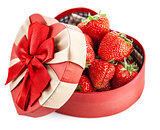 Fresh strawberry in box with bow gift on valentines day