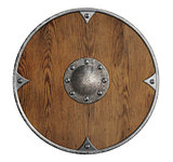 old wooden vikings' shield isolated