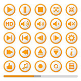 Orange Media Player Buttons